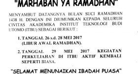 Pengumuman Libur Awal Ramadhan 1438H